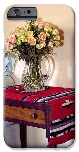 Interior Still Life iPhone Cases - BEDSIDE DESERT ROSES Palm Springs iPhone Case by William Dey