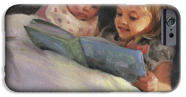 Bible Paintings iPhone Cases - Bedtime Bible Stories iPhone Case by Anna Bain