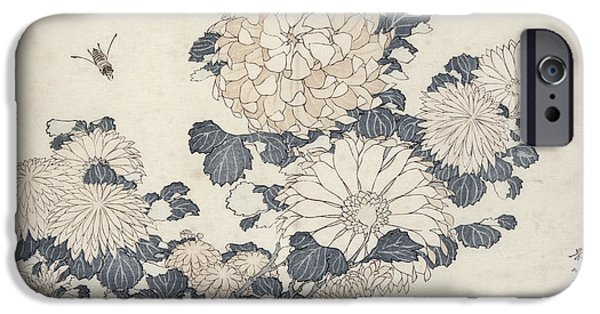 Chrysanthemum iPhone Cases - Bee And Chrysanthemums, From The Series Big Flowers Colour Woodblock Print iPhone Case by Katsushika Hokusai