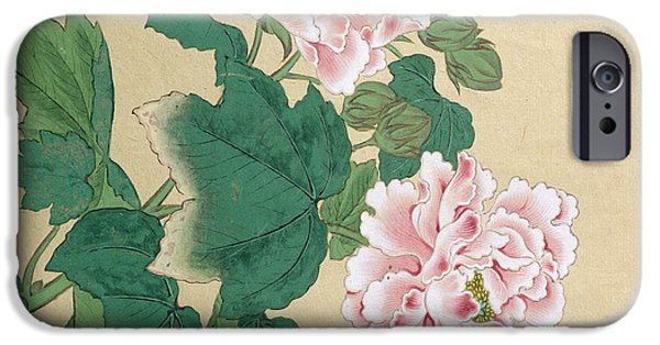 Flora Drawings iPhone Cases - Bee and Peony iPhone Case by Ichimiosai