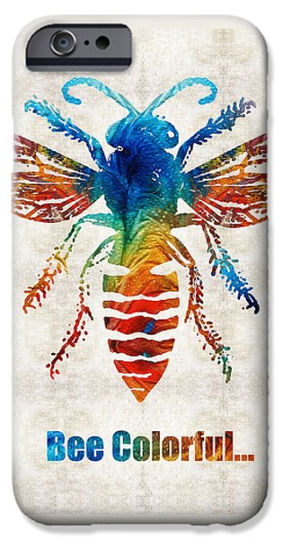 Bee iPhone Cases - Bee Colorful - Art by Sharon Cummings iPhone Case by Sharon Cummings