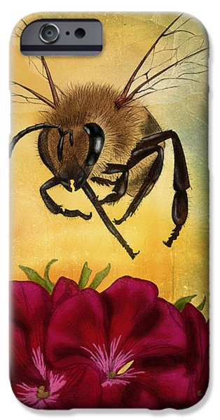 Bee iPhone Cases - Bee I iPhone Case by April Moen