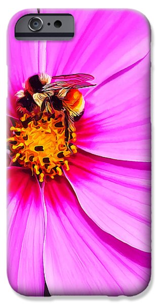 Floral Digital Art Digital Art Photographs iPhone Cases - Bee on Pink iPhone Case by Bill Caldwell -        ABeautifulSky Photography