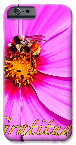 Floral Digital Art Digital Art iPhone Cases - Bee on Pink - Gratitude iPhone Case by Bill Caldwell -        ABeautifulSky Photography