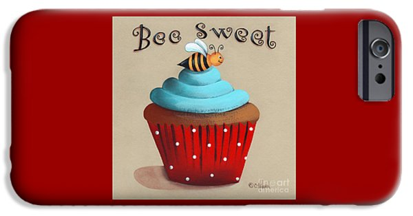 Catherine White Paintings iPhone Cases - Bee Sweet Cupcake iPhone Case by Catherine Holman
