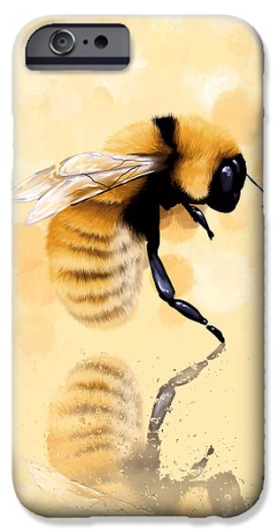 Digital Paintings iPhone Cases - Bee iPhone Case by Veronica Minozzi