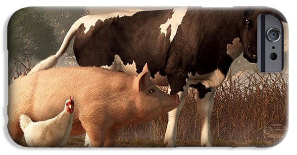 Barnyard Digital Art iPhone Cases - Beef Pork and Poultry  iPhone Case by Daniel Eskridge
