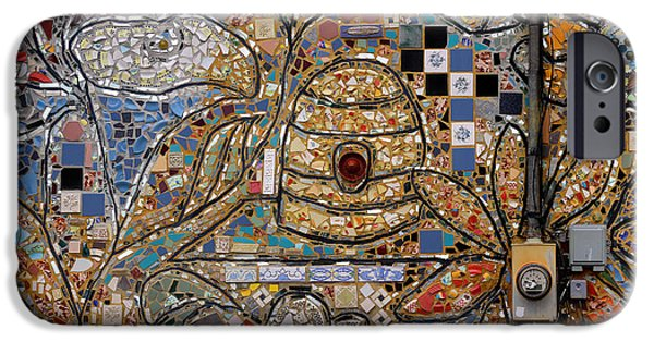 Abstracts Ceramics iPhone Cases - Beehive Mosaic iPhone Case by Karen Adams