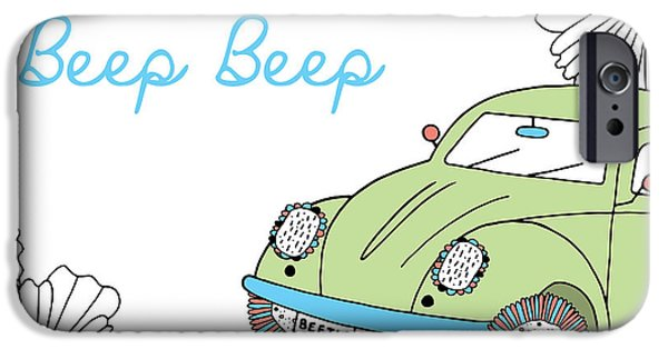 Graphic Design iPhone Cases - Beep Beep Beetle iPhone Case by Susan Claire