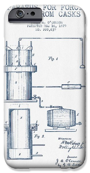 Tap iPhone Cases - Beer Apparatus Patent from 1879 -  Blue Ink iPhone Case by Aged Pixel