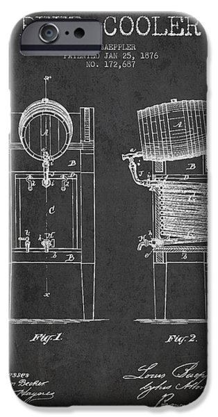 Technical iPhone Cases - Beer Cooler Patent Drawing from 1876 - Dark iPhone Case by Aged Pixel