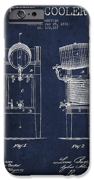 Technical iPhone Cases - Beer Cooler Patent Drawing from 1876 - Navy Blue iPhone Case by Aged Pixel