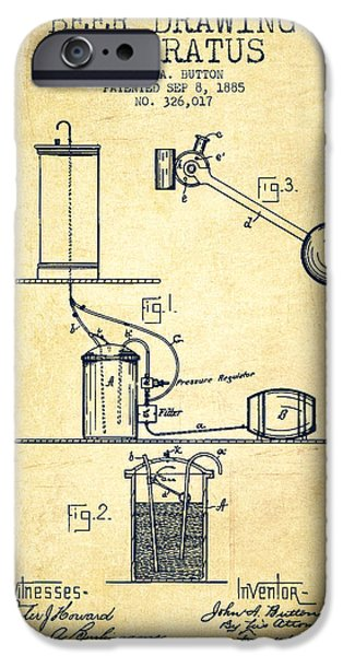 Tap iPhone Cases - Beer Drawing Apparatus Patent from 1885 iPhone Case by Aged Pixel