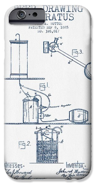 Tap iPhone Cases - Beer Drawing Apparatus Patent from 1885 -  Blue Ink iPhone Case by Aged Pixel