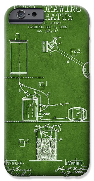 Tap iPhone Cases - Beer Drawing Apparatus Patent from 1885 - Green iPhone Case by Aged Pixel