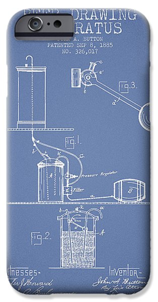 Tap iPhone Cases - Beer Drawing Apparatus Patent from 1885 - Light Blue iPhone Case by Aged Pixel