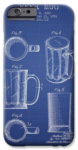 Glass Wall Digital iPhone Cases - Beer Mug Patent 1951 - Blueprint iPhone Case by Aged Pixel