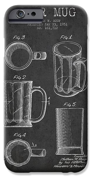 Glass Wall Digital iPhone Cases - Beer Mug Patent Drawing from 1951 - Dark iPhone Case by Aged Pixel