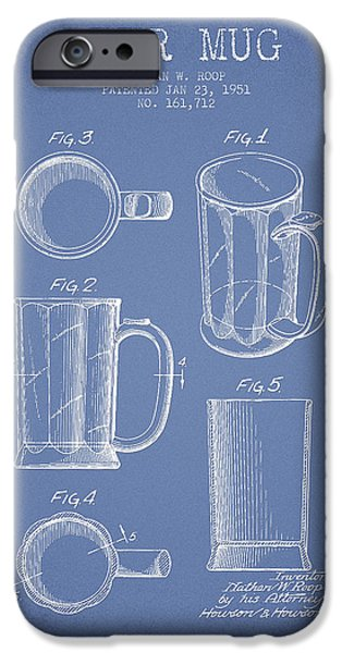 Glass Wall Digital iPhone Cases - Beer Mug Patent Drawing from 1951 - Light Blue iPhone Case by Aged Pixel