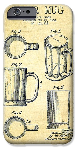 Glass Wall Digital iPhone Cases - Beer Mug Patent Drawing from 1951 - Vintage iPhone Case by Aged Pixel