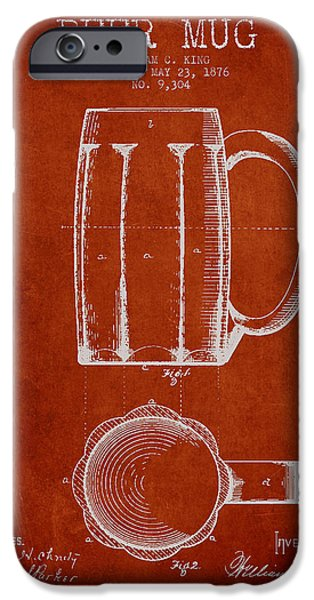 Glass Wall Digital iPhone Cases - Beer Mug Patent from 1876 - Red iPhone Case by Aged Pixel