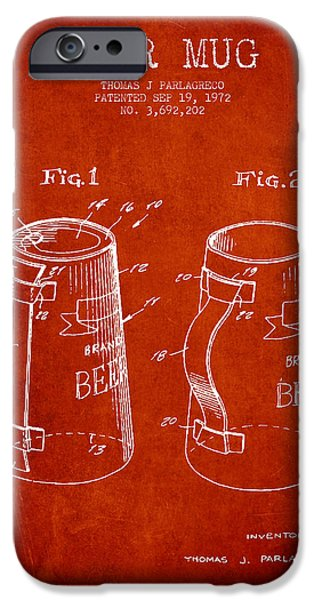 Glass Wall Digital iPhone Cases - Beer Mug Patent from 1972 - Red iPhone Case by Aged Pixel