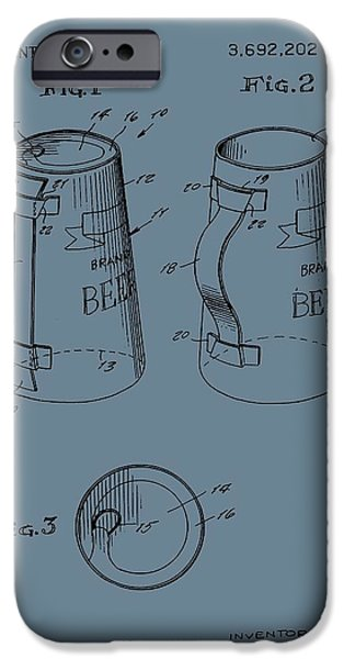 Owner Digital iPhone Cases - Beer Mug Patent On Blue iPhone Case by Dan Sproul