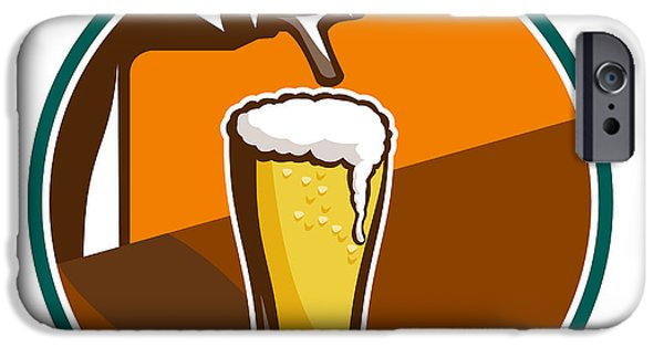 Food And Beverage Digital iPhone Cases - Beer Pint Glass Tap Retro iPhone Case by Aloysius Patrimonio