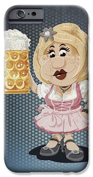 Oktoberfest iPhone Cases - Beer Stein Dirndl Oktoberfest Cartoon Woman Grunge Color iPhone Case by Frank Ramspott