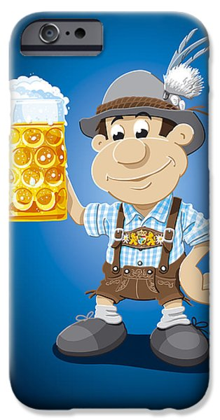 Ramspott iPhone Cases - Beer Stein Lederhosen Oktoberfest Cartoon Man iPhone Case by Frank Ramspott