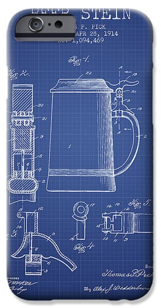 Glass Wall Digital iPhone Cases - Beer Stein Patent 1914 - Blueprint iPhone Case by Aged Pixel