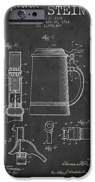 Stein iPhone Cases - Beer Stein Patent from 1914 - Dark iPhone Case by Aged Pixel