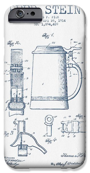 Stein iPhone Cases - Beer Stein Patent from 1914 -  Blue Ink iPhone Case by Aged Pixel