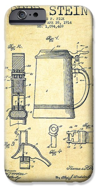 Stein iPhone Cases - Beer Stein Patent from 1914 -Vintage iPhone Case by Aged Pixel