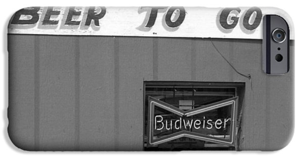 1990 iPhone Cases - Beer To Go in Black and White iPhone Case by Greg Mimbs