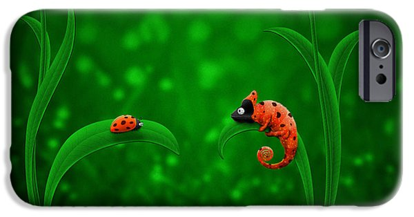 Animation iPhone Cases - Beetle Chameleon iPhone Case by Gianfranco Weiss