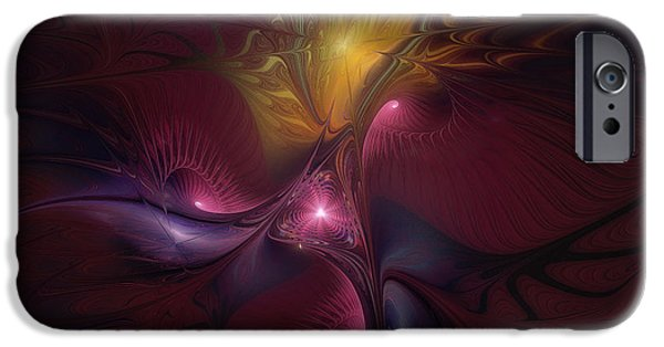 Abstract Expressionism iPhone Cases - Before Dawn-Fractal Art iPhone Case by Karin Kuhlmann