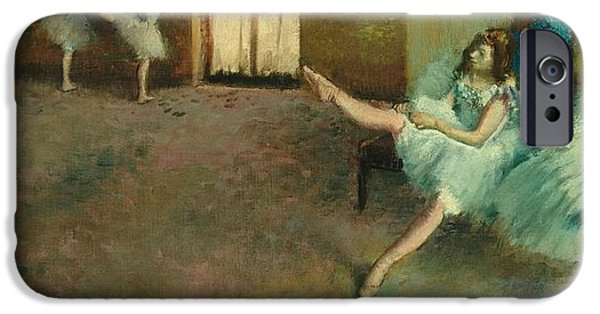 Tutus Paintings iPhone Cases - Before the Ballet iPhone Case by Edgar Degas