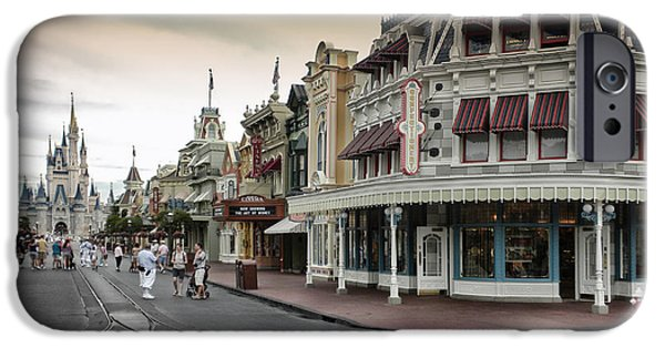 Casey Digital iPhone Cases - Before The Gates Open Magic Kingdom with Castle iPhone Case by Thomas Woolworth