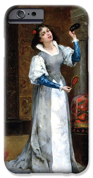 Woman In A Dress iPhone Cases - Before The Masked Ball iPhone Case by Noel Saunier