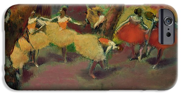 Ballet Dancers Photographs iPhone Cases - Before The Performance, C.1896-98 Oil On Canvas iPhone Case by Edgar Degas