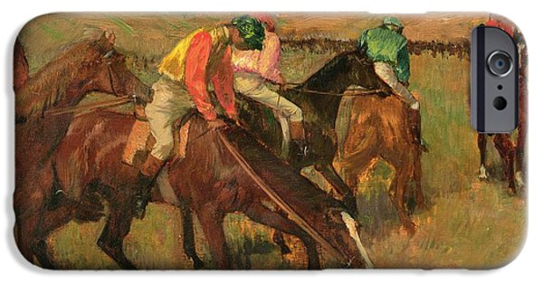 Horse Race iPhone Cases - Before the Races iPhone Case by Edgar Degas