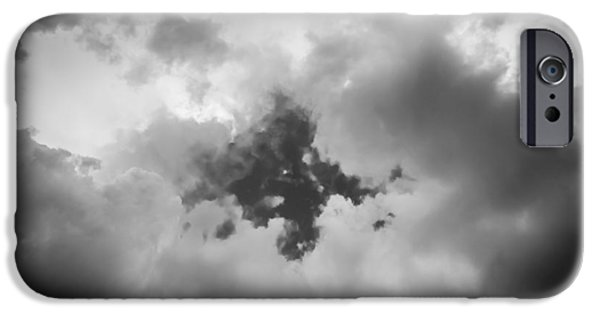 Drama iPhone Cases - Before the Storm Clouds Stratocumulus BW 4 iPhone Case by Rich Franco