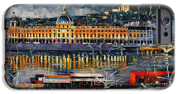 Storm iPhone Cases - Before The Storm - View On Hotel Dieu Lyon And The Rhone France iPhone Case by Mona Edulesco