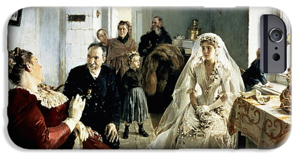 Patient iPhone Cases - Before The Wedding, 1880s Oil On Canvas iPhone Case by Illarion Mikhailovich Pryanishnikov
