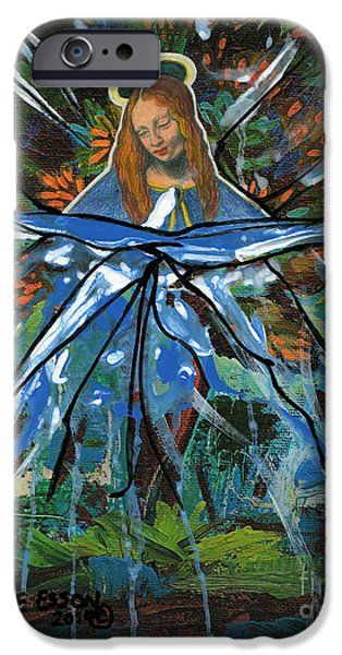 Spiritual Portrait Of Woman iPhone Cases - Before We Drain In The Snow iPhone Case by Genevieve Esson