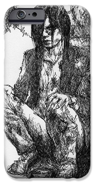 Fury Drawings iPhone Cases - Beggars Fury iPhone Case by Kimmo Matias