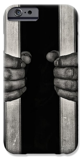 Cell Mixed Media iPhone Cases - Behind bars iPhone Case by Svetlana Sewell