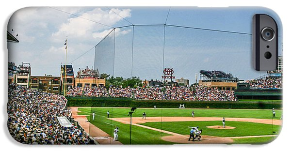 Wrigley Field iPhone Cases - Behind home pate Wrigley iPhone Case by John McGraw