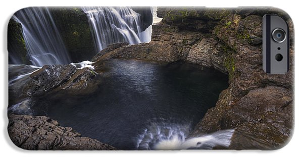 Autumn iPhone Cases - Behind Lower Lewis River Falls iPhone Case by Mark Kiver
